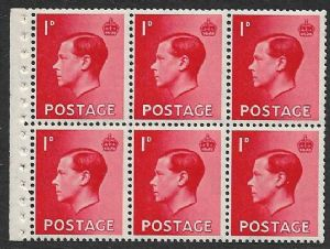 PB2 1d Scarlet Booklet Pane of 6 Watermark Upright  Unmounted Mint (Edward VIII Stamps)